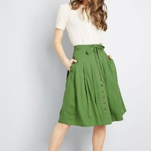 Modcloth Linen Bring to Life Pleated Skirt S